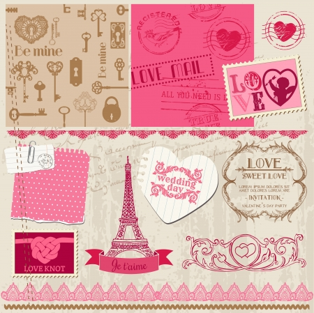 Scrapbook Design Elements - Love Set - for cards, invitation, greetings Vector