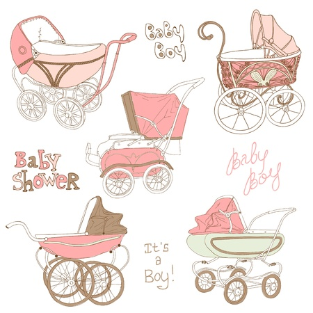 girl in shower: Baby Carriage Set - for your design and scrapbook