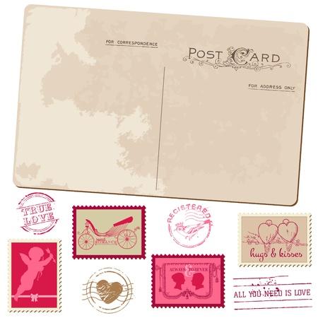 Carte postale de cru et de timbres-poste - pour la conception de mariage, invitation, félicitation, album Vecteurs