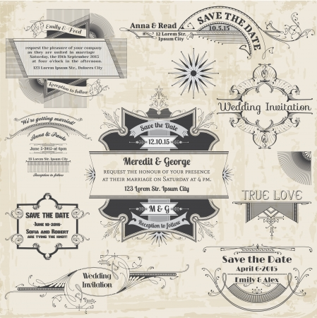 romantic date: Wedding Vintage Invitation Collection - for design, scrapbook