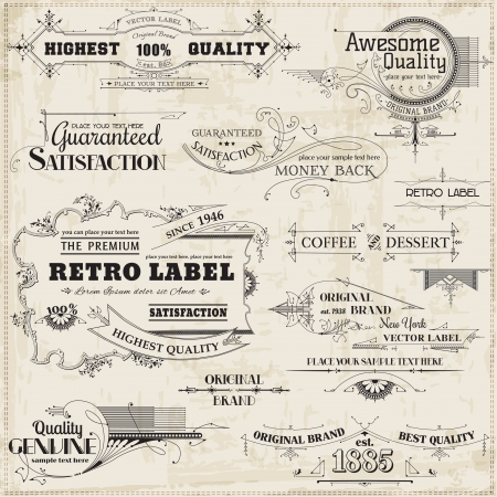 vendimia: Elementos caligráficos del diseño y decoración de la página, colección Vintage Frame