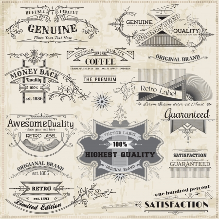 calligraphic design: Calligraphic Design Elements and Page Decoration, Vintage Frame collection Illustration