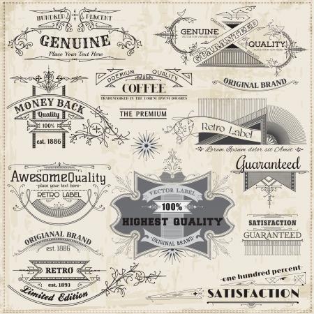 calligraphique: �l�ments de conception et d�coration calligraphiques, la page de collecte de cadre de cru Illustration
