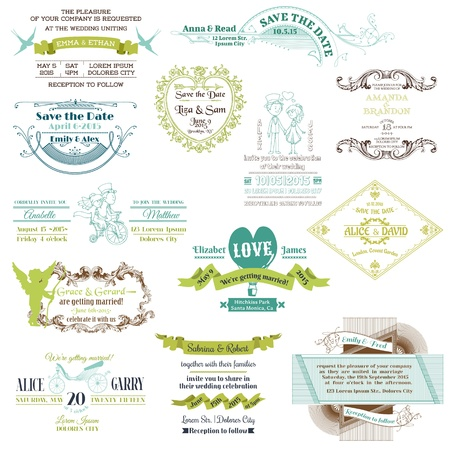 Wedding Vintage Invitation Collection - for design, scrapbook Vector