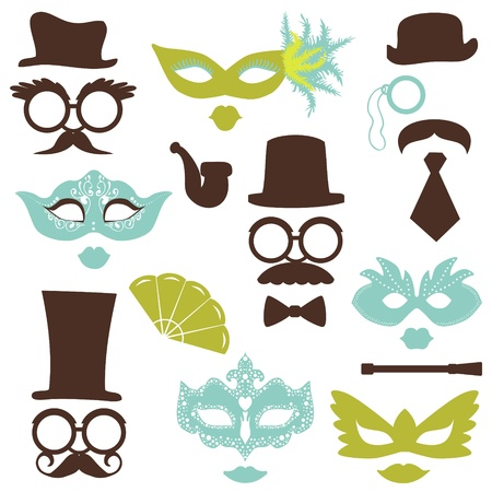 hair mask: Retro Party set - Glasses, hats, lips, mustaches, masks - for design, photo booth, scrapbook in vector
