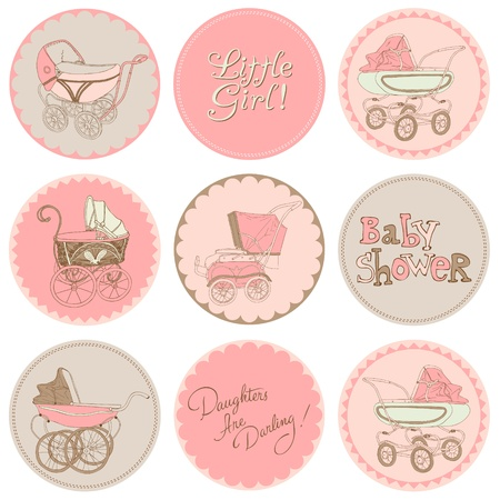 baby shower girl: Baby Girl Shower Party Set - for your design and scrapbook in vector Illustration