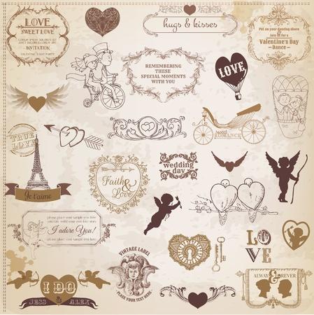 plakboek, liefde, valentijnskaart, huwelijk, wijnoogst, schroot, het scrapbooking, uitnodiging, kalligrafie, hart, cupid, engel, kader, vogel, ontwerp, element, amour, achtergrond, banner, retro, dag, romance, Valentijnsdag, kaart, hoek , paar, decor, decoratie, trekken