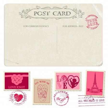 Vintage Postcard and Postage Stamps - for wedding design, invitation, congratulation, scrapbook Vector Illustration