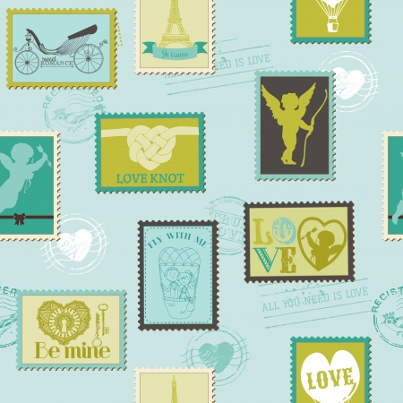 Valentine Stamps Love Background - for design, invitation, scrapbook Vector