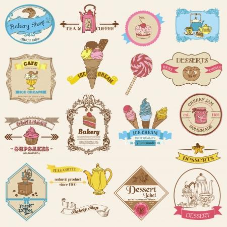 pasteles: Panader�a Vintage etiquetas y Postres - para el dise�o y libro de recuerdos Vectores