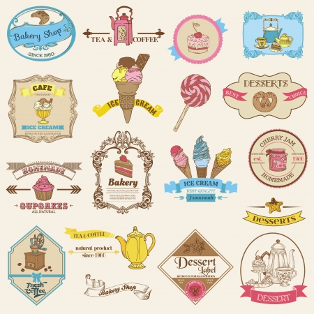 Vintage Bakery and Dessert labels - for design and scrapbook  Vector