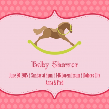 your text: Baby Girl Shower and Arrival Card - with place for your text in vector
