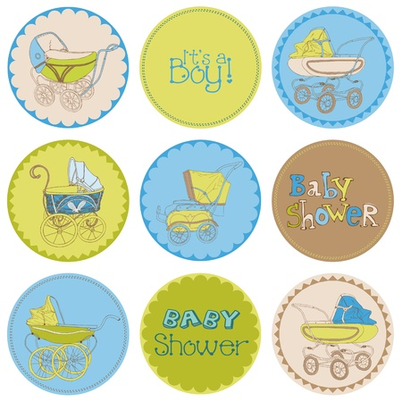 baby carriage: Baby Boy Shower Party Set - for your design and scrapbook in vector