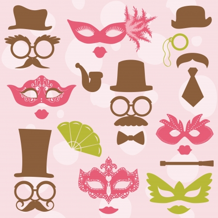 photo of accessories: Retro Party set - Glasses, hats, lips, mustaches, masks - for design, photo booth, scrapbook in vector