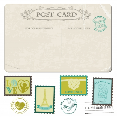 love stamp: Vintage Postcard and Postage Stamps - for wedding design, invitation, congratulation, scrapbook