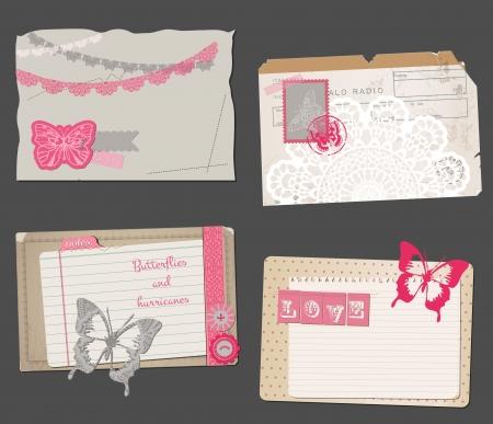 Set of Vintage Papers - for design or scrapbook - in vector Vector