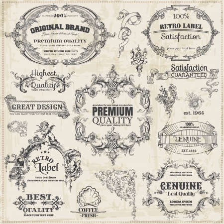 typographic: Vector Set: Calligraphic Design Elements and Page Decoration, Vintage Frame collection Illustration