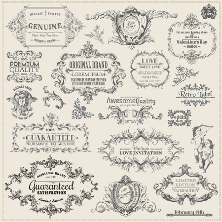 vintage document: Vector Set: Calligraphic Design Elements and Page Decoration, Vintage Frame collection Illustration