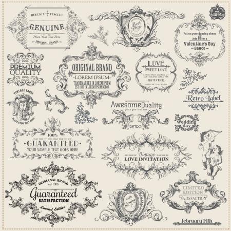 vendimia: Vector Set: Elementos caligráficos del diseño y decoración de la página, colección Vintage Frame