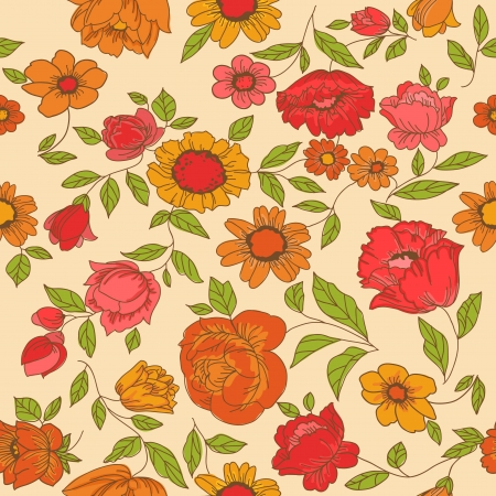 Seamless Vintage Flower Background - for design and scrapbook  Vector
