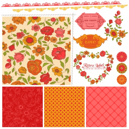 Scrapbook Design Elements - Orange Flowers and Poppies  Vector