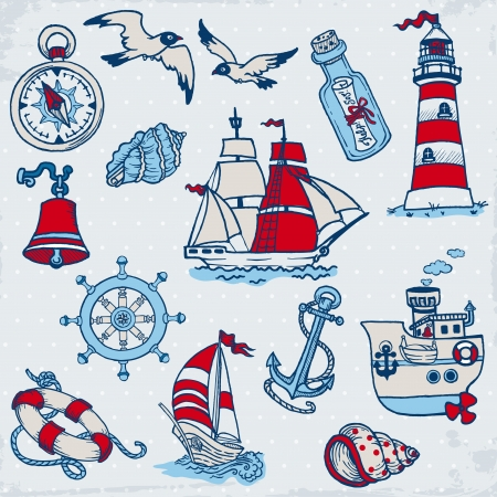gulls: Nautical Sea Design Elements - for scrapbook and design