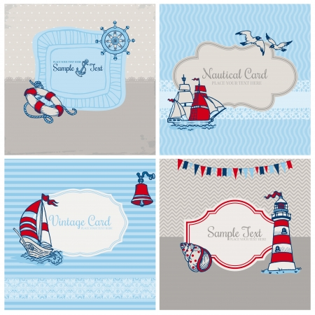 marine bird: Set of Nautical Sea Cards - for scrapbook and design  Illustration
