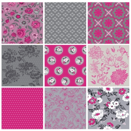 Seamless Vintage Flower Background Set- for design and scrapbook - in vector Stock Vector - 17454758