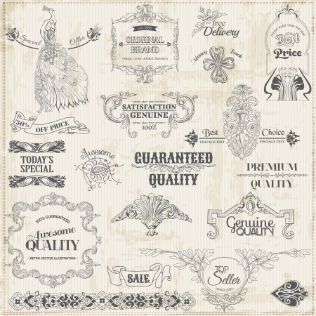 retro type: Vector Set: Calligraphic Design Elements and Page Decoration, Vintage Frame collection Illustration
