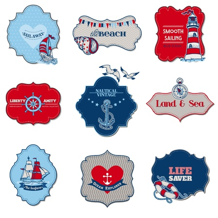 marine bird: Nautical Sea Tag Elements - for scrapbook and design in vector
