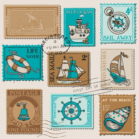 nautical vessel: Vector Set of Retro SEA POST Stamps - High Quality -  for design and scrapbook
