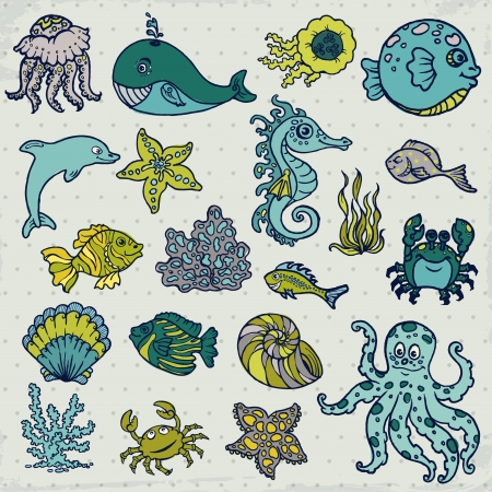 algae: Summer Sea Life creatures - star, fish, shell, crab - for design and scrapbook in vector Illustration
