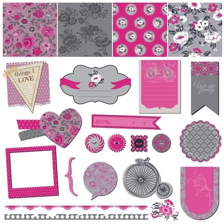 scrapbook cover: Seamless Vintage Flower Background Set- for design and scrapbook