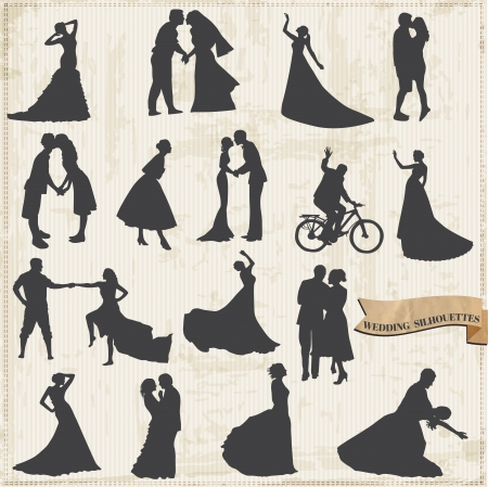 silhouette of bride: Vintage Wedding Silhouettes - Bride and Groom - for design and scrapbook