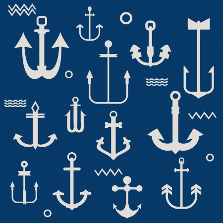 nautical pattern: Various Anchor Collection - for your logo, design, scrapbook