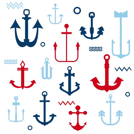 Various Anchor Collection - for your logo, design, scrapbook Stock Vector - 17621308
