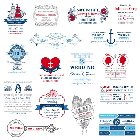 wedding invitation: Wedding Invitation Collection - for design, scrapbook  Illustration