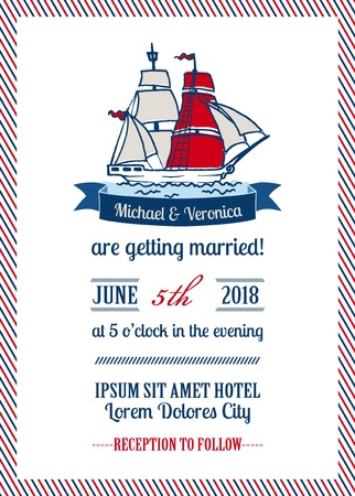 ship sign: Wedding Marine Invitation Card