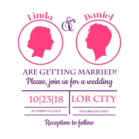 silhouttes: Wedding Invitation Card - Bride and Groom Silhouttes