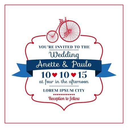 save the date: Wedding Invitation Card -Vintage Bicycle Theme