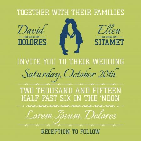 caligraphic: Wedding Invitation Card - Kissing Couple Theme  Illustration