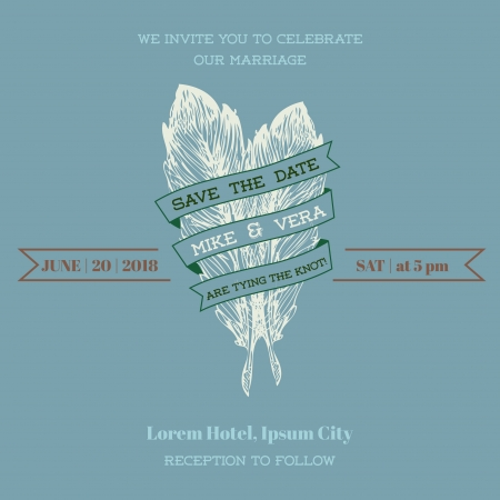 Wedding Vintage Invitation Card - Feather Theme  Vector