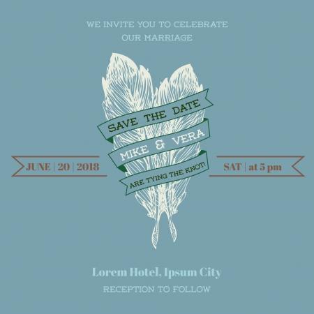 caligraphic: Wedding Vintage Invitation Card - Feather Theme  Illustration