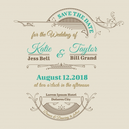 Wedding Invitation Card - Vintage Frame Theme - in vector Stock Vector - 17757224