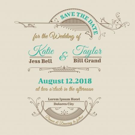 Hochzeits-Einladungs-Karte - Vintage Frame Theme - in Vektor