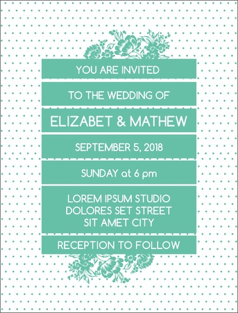 Wedding Invitation Card - Vintage Floral Theme - in vector Stock Vector - 17757226