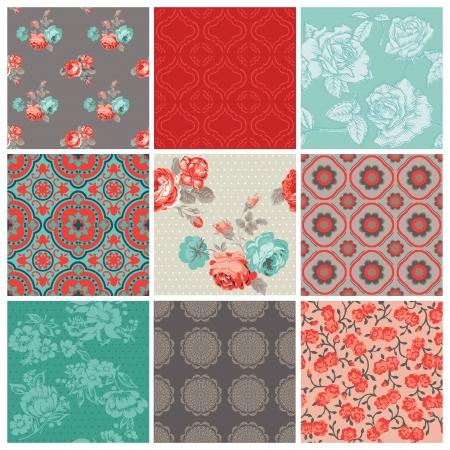 scrapbook cover: Seamless Vintage Flower Background Set- for design and scrapbook - in vector Illustration