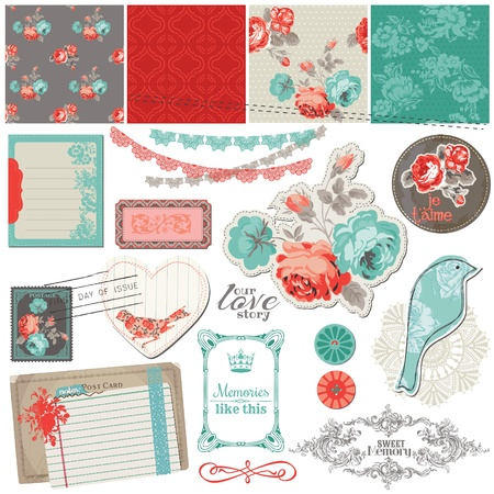 baby scrapbook: Scrapbook Design Elements - Vintage Roses and Birds - in vector