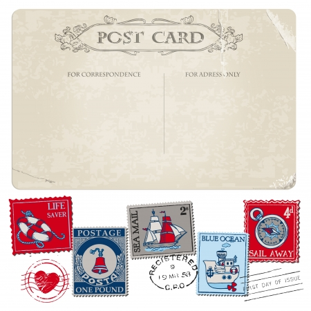 Nautical Postcard and Postage Stamps - for wedding design, invitation, scrapbook Stock Vector - 17918986