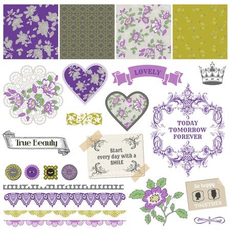 Scrapbook Design Elements - Vintage Violet Roses Stock Vector - 17919042